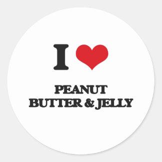 Amo la mantequilla y la jalea de cacahuete etiquetas redondas