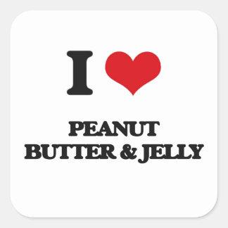 Amo la mantequilla y la jalea de cacahuete colcomanias cuadradases