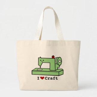 Amo la máquina de coser de Kawaii del arte Bolsa Tela Grande