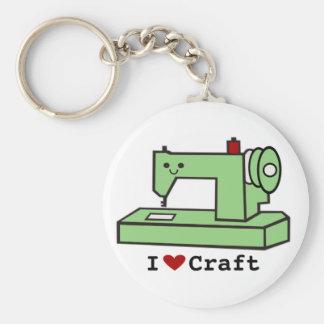 Amo la máquina de coser de Kawaii del arte Llavero Redondo Tipo Pin
