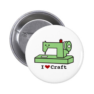 Amo la máquina de coser de Kawaii del arte Pin Redondo De 2 Pulgadas