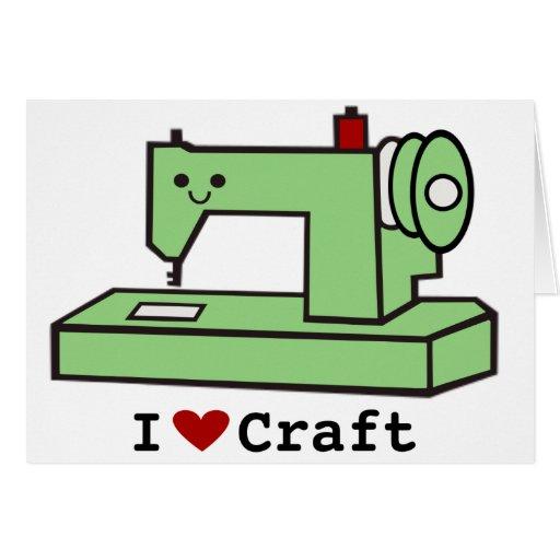 Amo la máquina de coser de Kawaii del arte Tarjeta De Felicitación