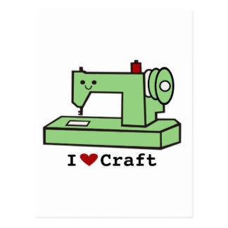 Amo la máquina de coser de Kawaii del arte Postal