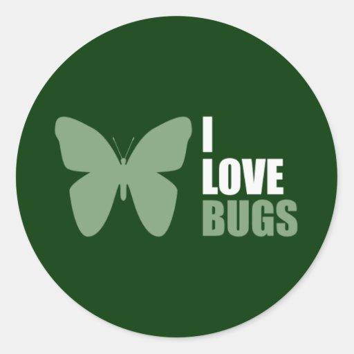 Amo la mariposa del amante del insecto de los pegatinas redondas