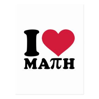 Amo la matemáticas pi tarjeta postal