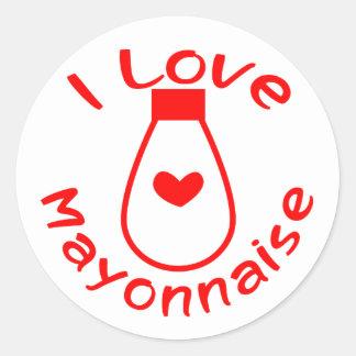 Amo la mayonesa etiquetas redondas