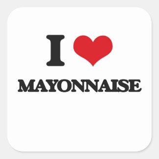 Amo la mayonesa calcomanías cuadradas personalizadas