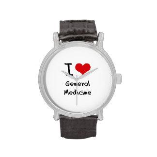 Amo la medicina general reloj de mano