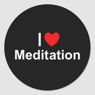 Amo la meditación (del corazón) pegatina redonda