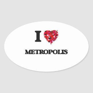 Amo la metrópoli pegatina ovalada