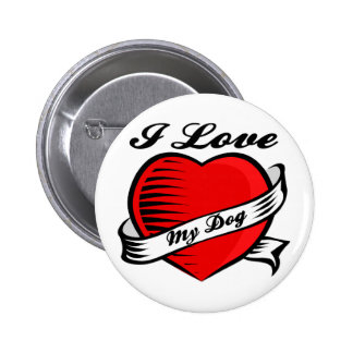 Amo la mi bolsa de asas del perro pin redondo 5 cm