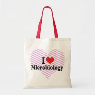 Amo la microbiología bolsa de mano