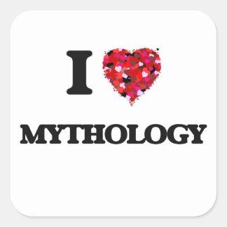Amo la mitología pegatina cuadrada