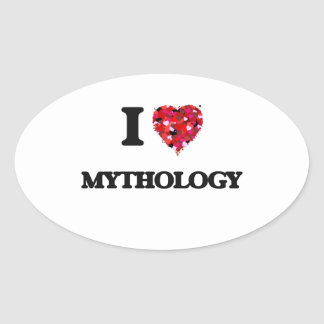 Amo la mitología pegatina ovalada