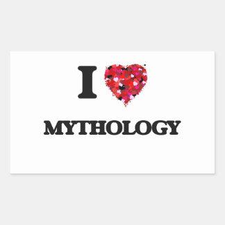 Amo la mitología pegatina rectangular
