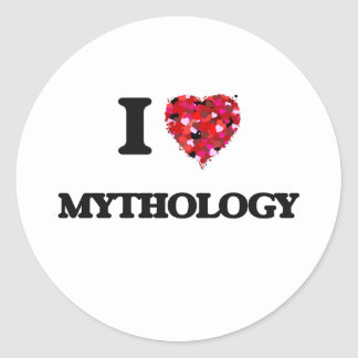 Amo la mitología pegatina redonda