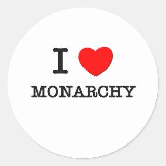 Amo la monarquía pegatina redonda
