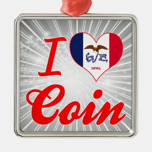 Amo la moneda, Iowa Adorno Navideño Cuadrado De Metal