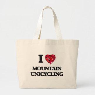 Amo la montaña Unicycling Bolsa Tela Grande