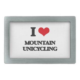 Amo la montaña Unicycling Hebillas De Cinturón Rectangulares