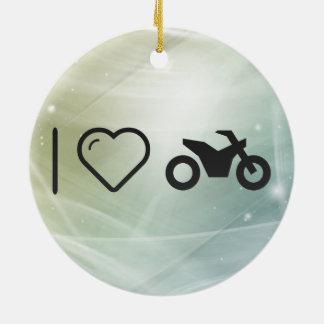 Amo la moto adorno redondo de cerámica