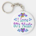 Amo la música 80s llavero