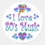 Amo la música 80s pegatina redonda