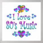 Amo la música 80s posters