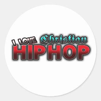 Amo la música cristiana de HIP HOP Pegatina Redonda