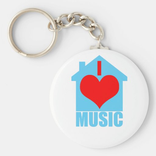 Amo la música de la casa - casa del corazón llavero personalizado