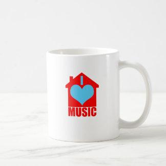 Amo la música de la casa - casa del corazón taza básica blanca