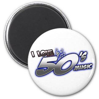 Amo la MÚSICA de los años 50 del corazón 50s de lo Imán Redondo 5 Cm