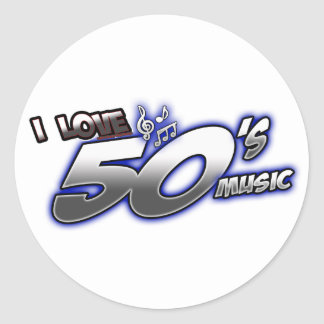 Amo la MÚSICA de los años 50 del corazón 50s de Pegatina Redonda