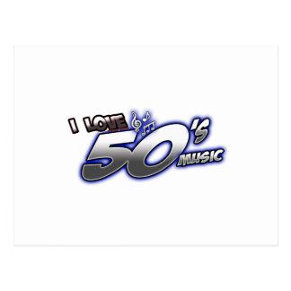 Amo la MÚSICA de los años 50 del corazón 50s de Postal