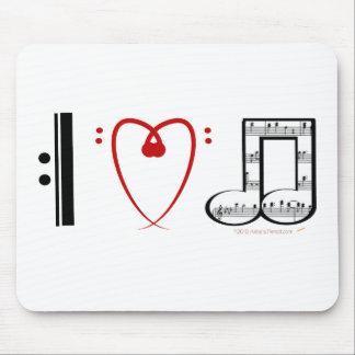 Amo la música (las notas del corazón de I) Alfombrilla De Ratón