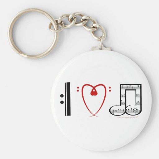 Amo la música (las notas del corazón de I) Llavero Personalizado