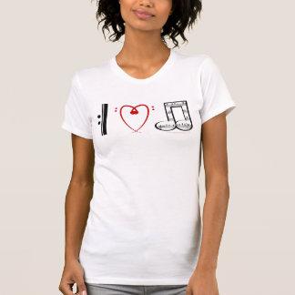 Amo la música las notas del corazón de I Camiseta