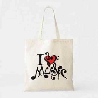 amo la música, música, músico bolsa tela barata