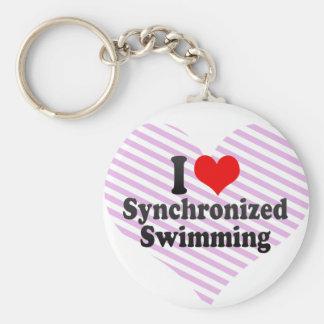 Amo la natación sincronizada llavero redondo tipo pin