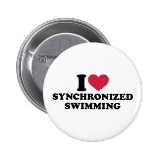 Amo la natación sincronizada chapa redonda 5 cm