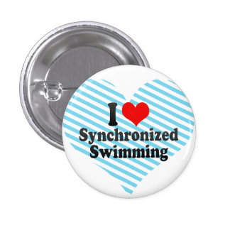 Amo la natación sincronizada pin redondo de 1 pulgada