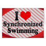 Amo la natación sincronizada tarjetón