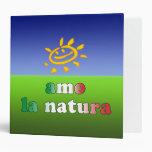 Amo la Natura I Love Nature in Italian Binder