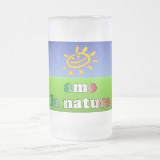 Amo la Natura I Love Nature in Italian Frosted Glass Beer Mug