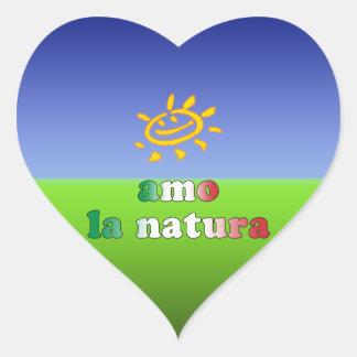 Amo la Natura I Love Nature in Italian Heart Sticker