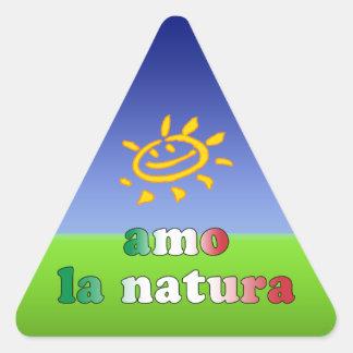Amo la Natura I Love Nature in Italian Triangle Sticker