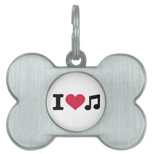 Amo la nota de la música placas de nombre de mascota