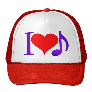 Amo la nota roja grande de la púrpura octava del gorro