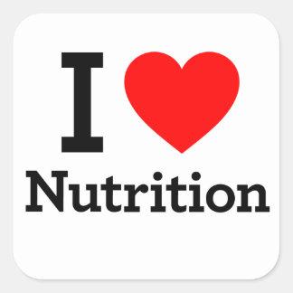 Amo la nutrición colcomanias cuadradas