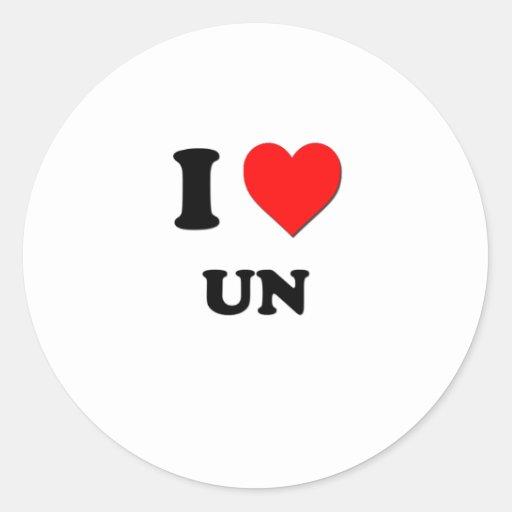 Amo la O.N.U Pegatina Redonda